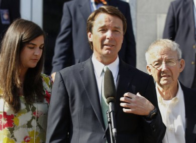 John Edwards speaking outside the court after a mistrial was declared on 31 May.
