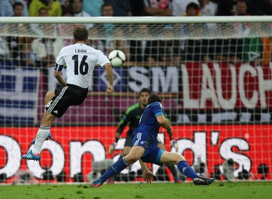 Philip Lahm scores the opener in Gdansk.