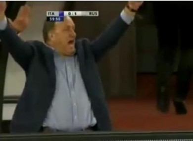 Dick Advocaat celebrates his side's second goal.