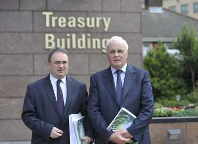 Chief Executive Brendan McDonagh and Chairman Frank Daly outside the Treasury Building in Dublin.