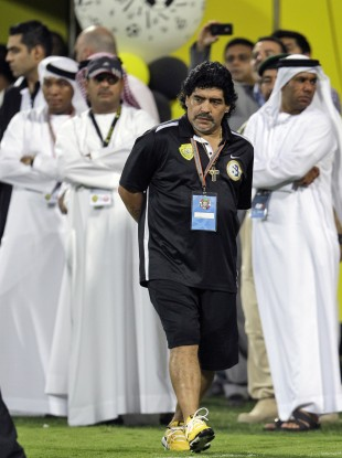 Diego Maradona on the sideline during a game in Dubai.