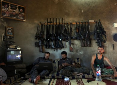 June 2012: Free Syrian Army soldiers on the outskirts of Aleppo.