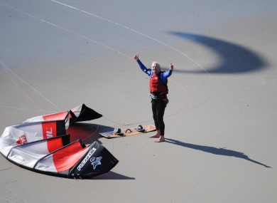 Richard Branson celebrating his record-breaking crossing.