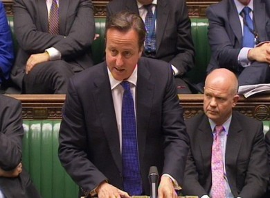 David Cameron in the House of Commons today