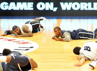 USA Basketball stars Lebron James, Chris Paul, Carmello Anthony, Deron Williams and James Harden during a training session at the Manchester Arena, Manchester.