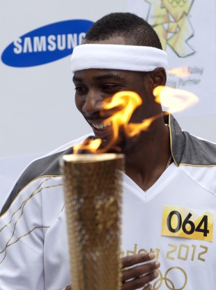 Idowu was carrying the Olympic torch in London at the weekend.