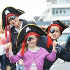 Joran Kenny, 12, Megan Kenny, 5, and Jake Kenny, 7, from Dundalk, Co Louth look the part at the Tall Ships Festival in Dublin. (Sasko Lazarov/Photocall Ireland)