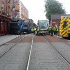 The damage to the front of the Luas carriage can be seen from this picture. Photo: Shane Brennan/Ross McCarthy