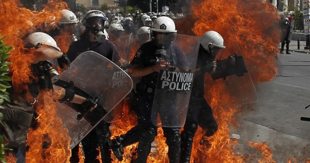 Pics: Petrol bombs thrown at Greek police during anti-austerity protests