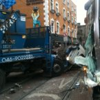The front of the bin truck after colliding with the Luas. Photo: Jonathon Edgely