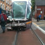 The front of the damaged Luas cab. Photo: Jonathon Edgely
