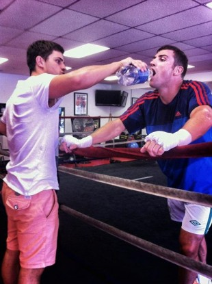 Matthew Macklin and his brother Seamus at the Hit Factory Boxing Gym in Las Vegas.