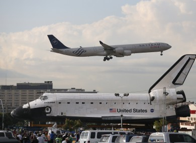 Space Shuttle Endeavour, preparing to leave Los Angeles Airport.
