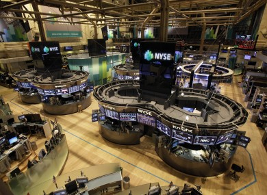 The floor of the New York Stock Exchange while empty of traders yesterday