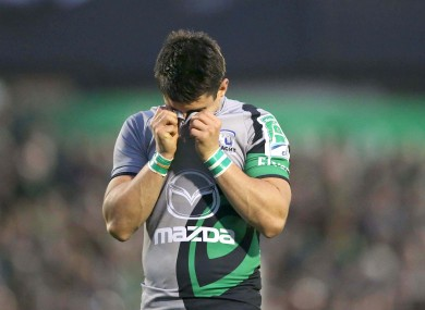 Connacht's Tiernan O'Halloran dejected.