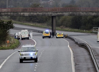 The scene of the shooting of David Black on the M1 in Armagh yesterday.