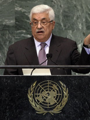 Palestinian president Mahmoud Abbas addresses delegates at the UN General Assembly.