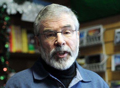 Gerry Adams speaking at the Sinn Fein bookstore in Dublin regarding the decision to table a motion of no confidence.