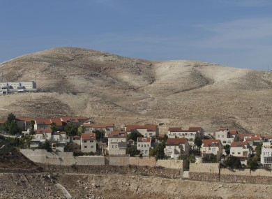 A view of the Jewish West Bank settlement of Maaleh Adumim, with E1, background.