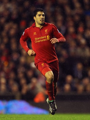 Luis Suarez in action yesterday.