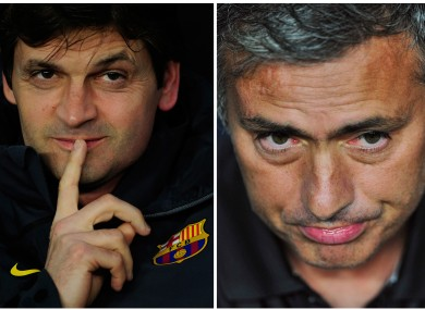 Vilanova, left, and Jose Mourinho.
