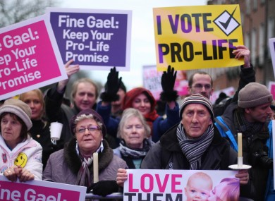 Pro-Life Campaigners gather in Merrion Square, Dublin today