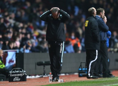 Aston Villa's manager Paul Lambert reacts to a missed chance