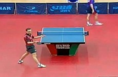 Professional table tennis player baffles opponent with this sick behind-the-back shot