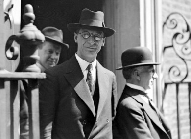 Taoiseach Eamon De Valera, who dismissed soldiers for desertion
