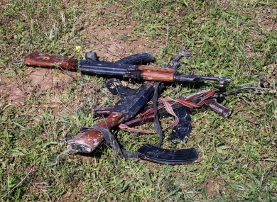 AK-47s seized by Iraqi security forces are seen in Hawija, 150 miles (240 kilometers) north of Baghdad, Iraq.