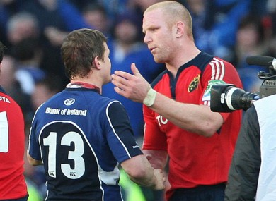 O'Driscoll and O'Connell after the 2009 Heineken Cup semi-final.