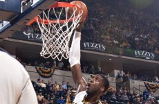 Roy Hibbert throws down one of the most vicious dunks of the NBA playoffs