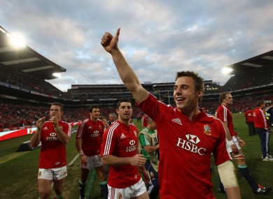 Bowe salutes the crowd during the 2009 Lions Tour.