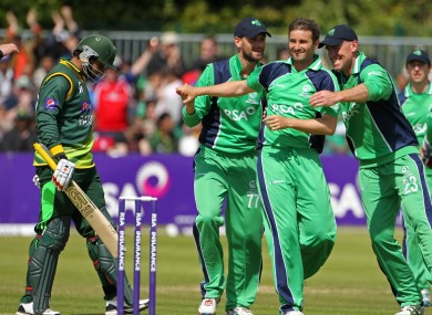 Ireland's Tim Murtagh, James Shannon and Trent Johnston celebrate a wicket.