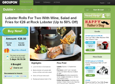 The Groupon website