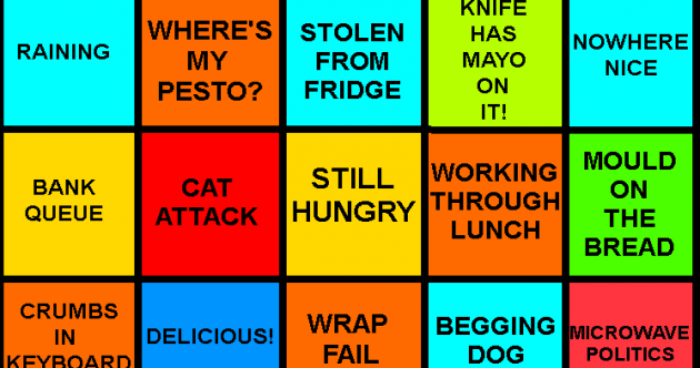 Stolen pesto? Microwave politics? It's time to play Lunchtime Bingo