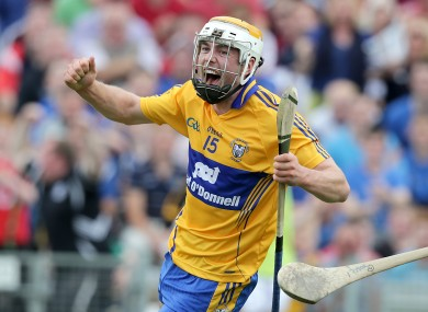 Clare's Conor McGrath celebrates scoring a goal.