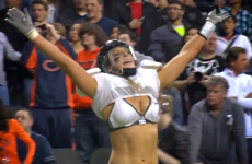 Check out this jaw-rearranging shoulder barge in the Legends Football League