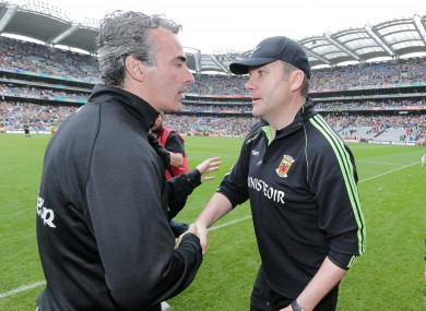 Jim McGuinness congratulates Mayo boss James Horan.