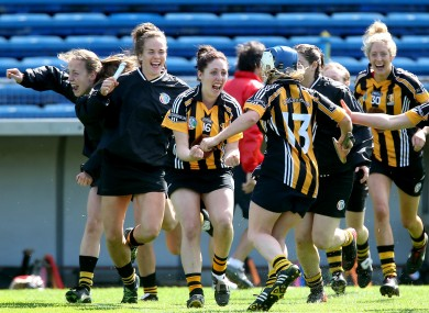 Kilkenny players celebrate at the final whistle.
