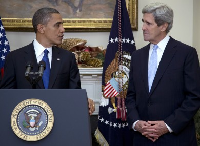 US President Barack Obama with US Secretary of State John Kerry