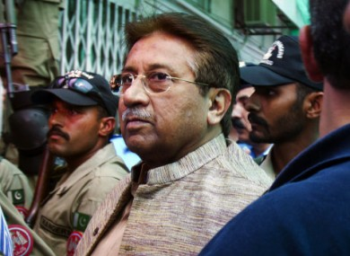 Pervez Musharraf arrives at an anti-terrorism court in Islamabad, Pakistan in April (File photo)