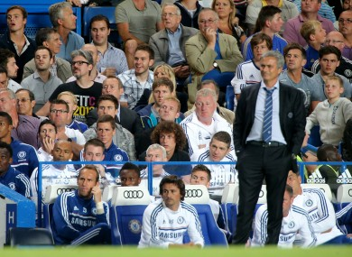 Jose Mourinho on the touchline during the win over Aston Villa last night.