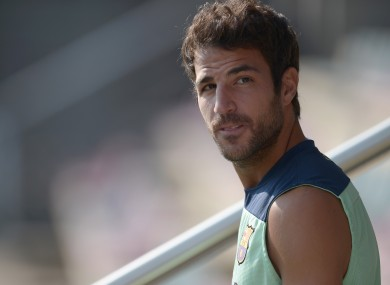 FC Barcelona's Cesc Fabregas attends a training session the Sports Center FC Barcelona Joan Gamper in San Joan Despi.