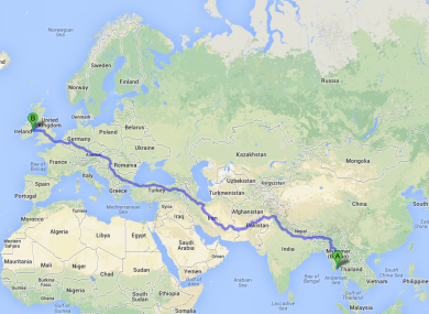 The route that one Cork fan is going to take this weekend.