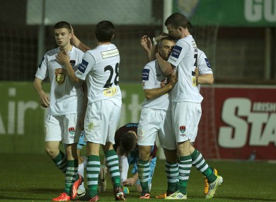 Cork City players congratulate team-mate Danny Morrissey (left) after their third goal.