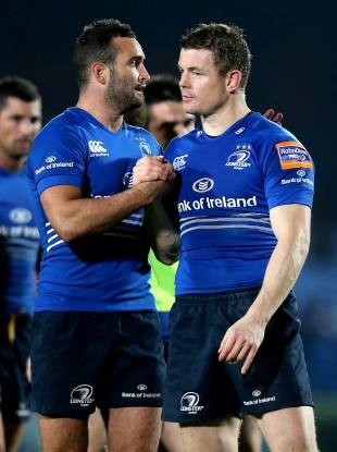 Brian O'Driscoll and Dave Kearney celebrate at the final whistle.