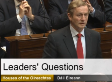 Taoiseach Enda Kenny during Leaders Questions today.