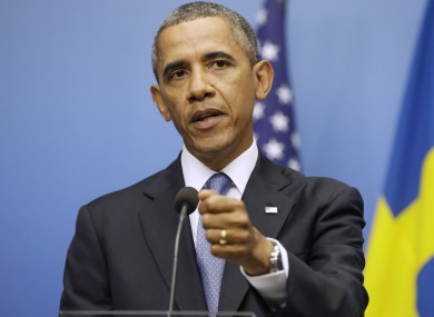President Barack Obama gestures during his joint news conference with Swedish Prime Minister Fredrik Reinfeldt today.