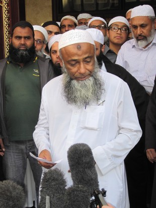 Muhammad Taufiq Al Sattar outside his local mosque in Leicester, speaking about the loss of his wife, daughter and teenage sons in a severe fire at their home in Wood Hill, Leicester.